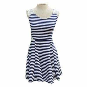 Poof Couture, mini dress, blue and white stripes, medium